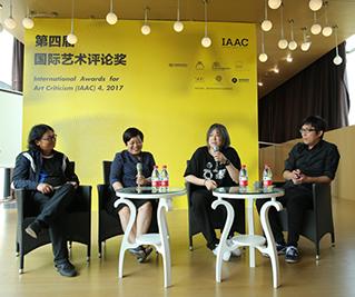 艺术家丁乙、徐震、杨福东在发布会现场畅谈艺术评论